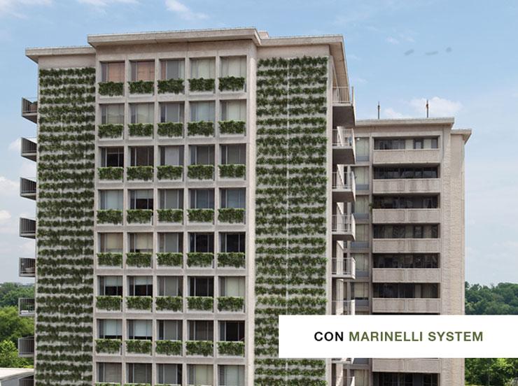 Facciata palazzo con verde verticale