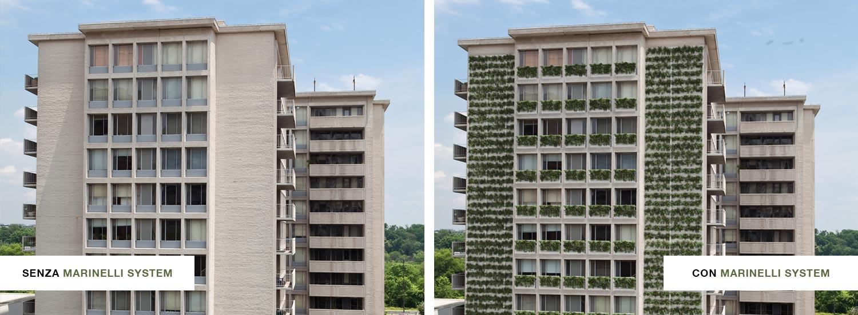 Facciata di un palazzo prima e dopo il verde verticale