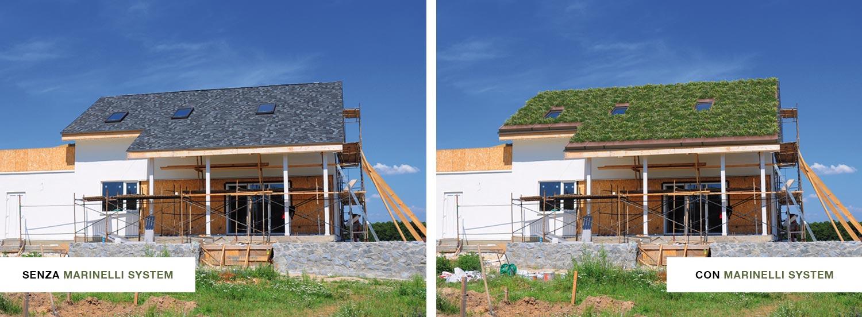 Marinelli System applicato sul tetto di una casa - prima e dopo